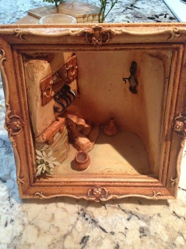 Pendelfin Vintage Collectible English UNUSUAL Shadowbox Fireplace Room Stand???