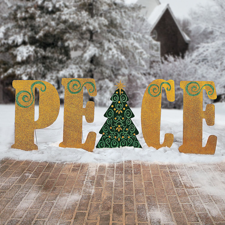 Peace Yard Stakes Christmas Yard Art Outdoor Christmas Decorations Outdoor Christmas