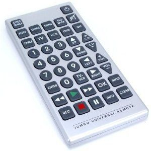 8 Functions Jumbo Universal Remote Control Tv VCR Cable DVD Satellite by ROBO. $13.95. 8 Functions Jumbo Universal Remote Control TV VCR Cable DVD Satellite