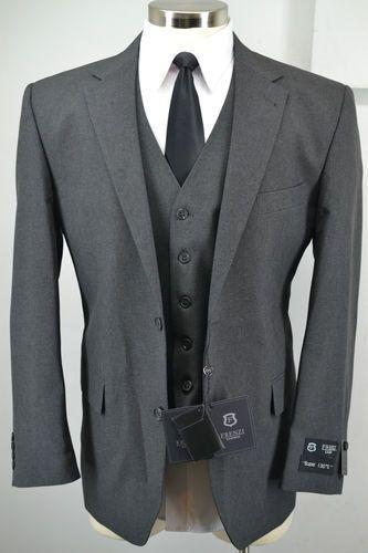 bf626f627f3b73 New Frenzi Uomo Mens Charcoal Grey 3 Piece Suit Blazer Vest Pants 38R 50R |  eBay