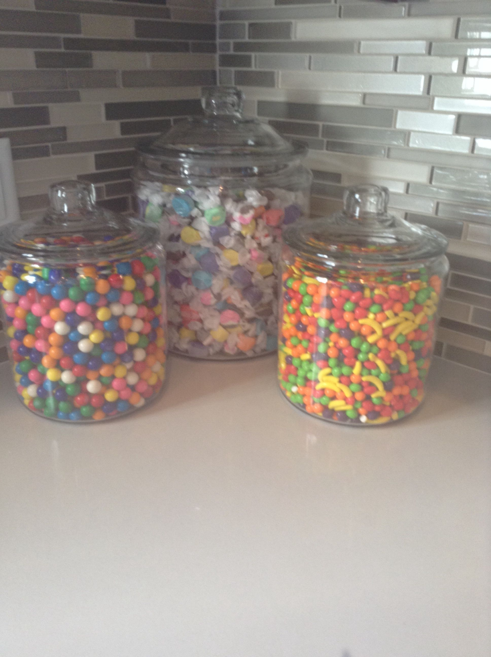 Candy Jars On The Counter Kitchen Jars Decor Kitchen Counter