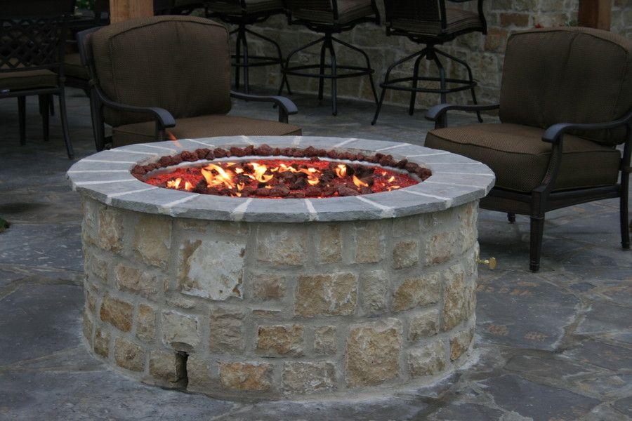 Backyard stone fireplace kits and fire pit inserts fire
