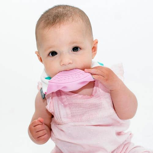 Cheeky Chompers Neckerchew Bandana Dribble Bib with Teething Chew in Baby Baby