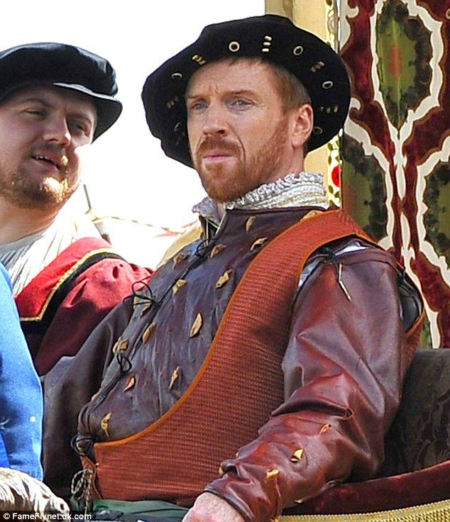 Period politics: Damian Lewis stars as King Henry VIII on the set of BBC drama Wolf Hall...