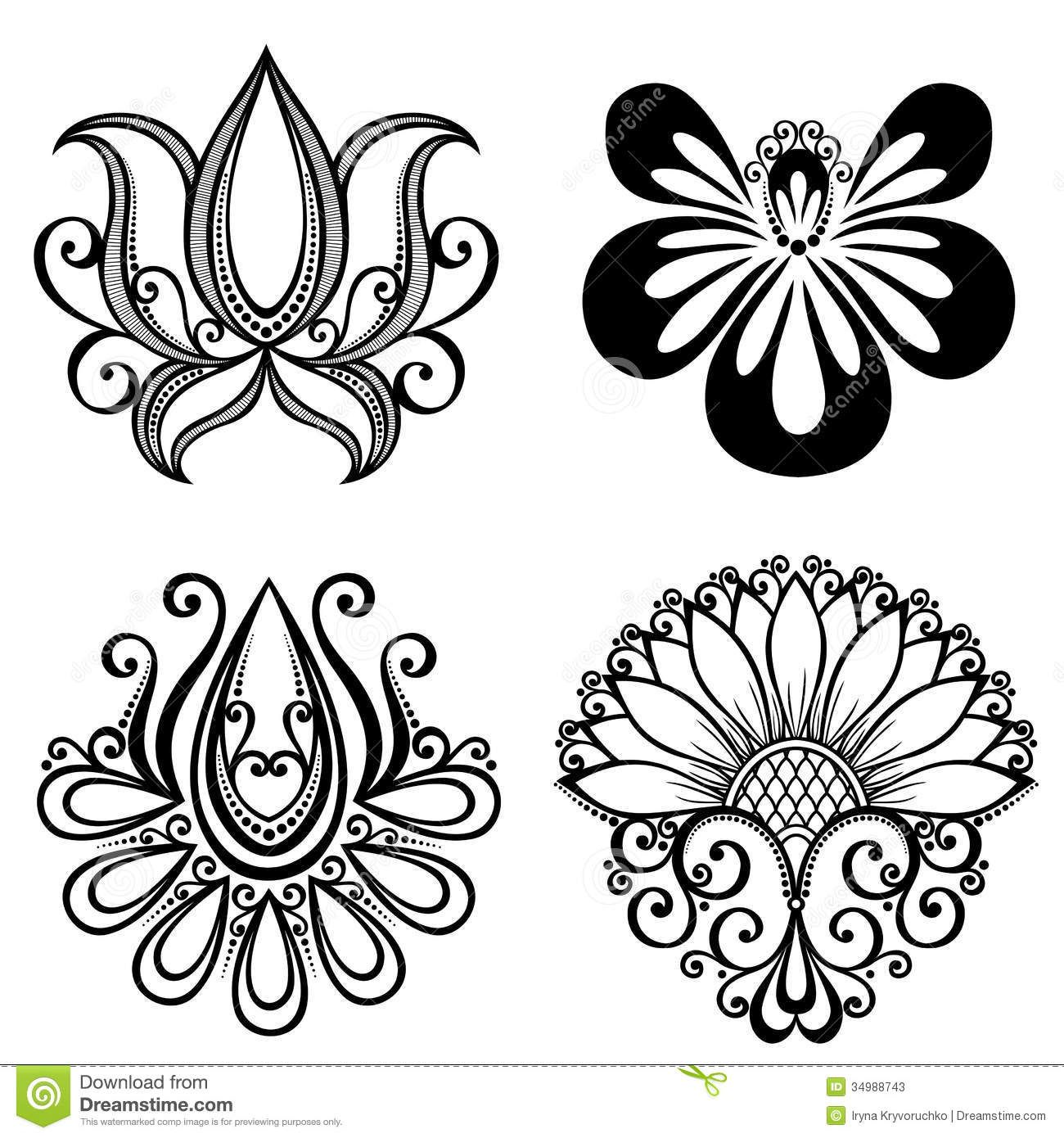 Set Of Beautiful Deco Flowers Stock Photos - Image ...