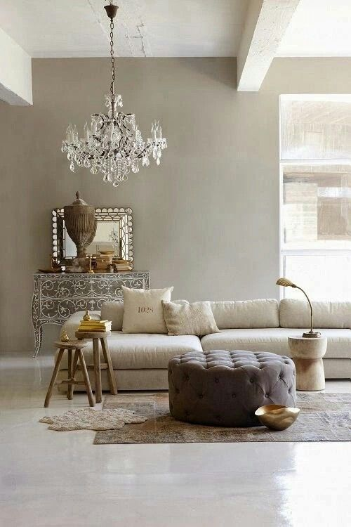 Taupe living room chandelier