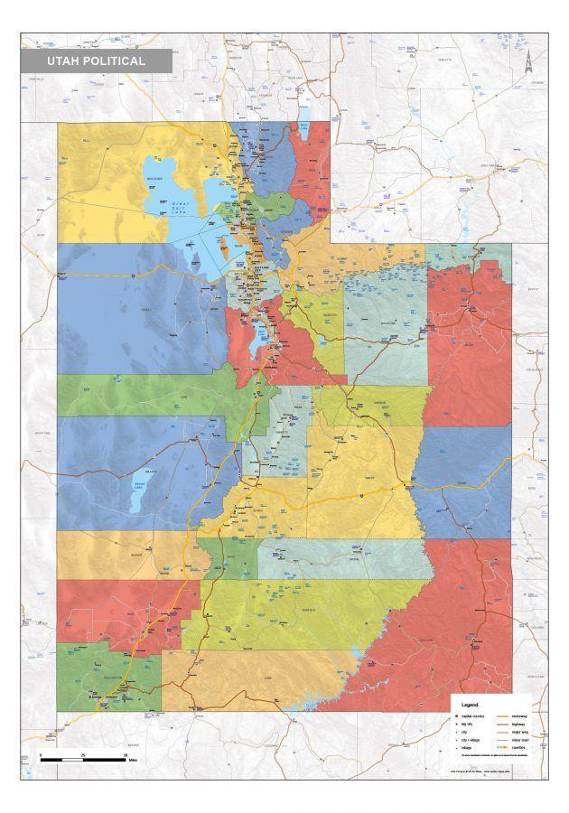 Utah political   County map, Map, Us map