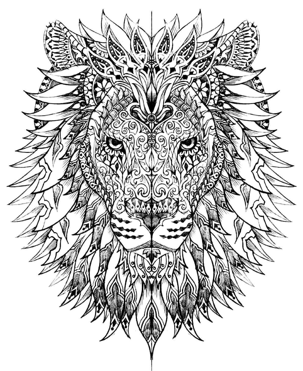 Tete lion Coloriages d Animaux Mandalas Zen from animaux mandala ...