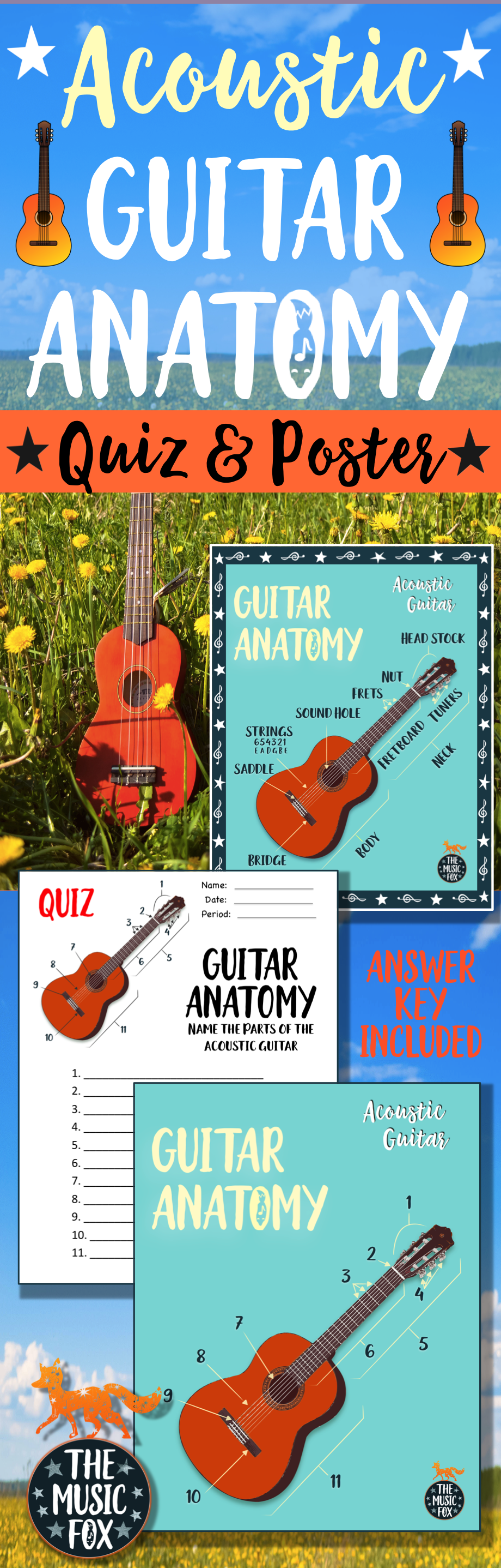 acoustic guitar anatomy poster color b w grades 3 12 the music fox resources freebies. Black Bedroom Furniture Sets. Home Design Ideas
