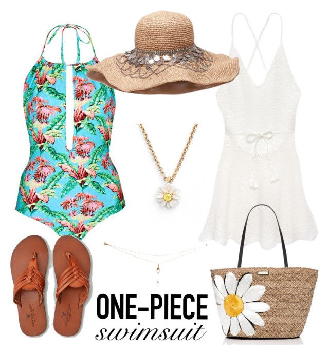"""""""Untitled #140"""" by paigeromano ❤ liked on Polyvore featuring Topshop, Victoria's Secret, Kate Spade, American Eagle Outfitters and onepieceswimsuit"""