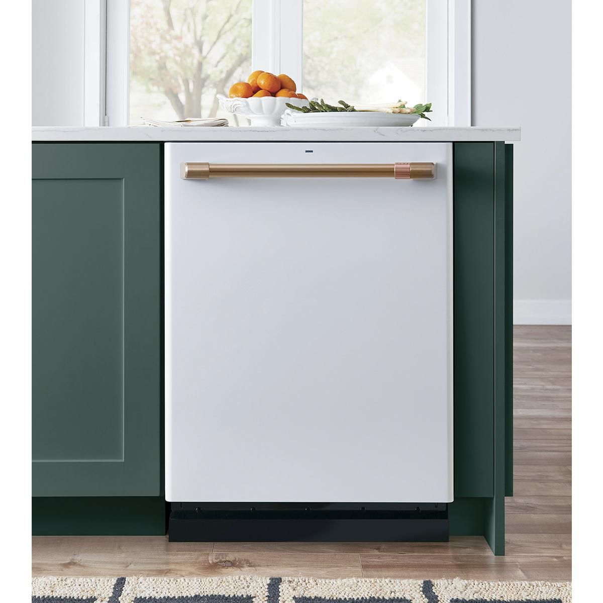 Ge Cafe Stainless Interior Built In Dishwasher In Matte White And
