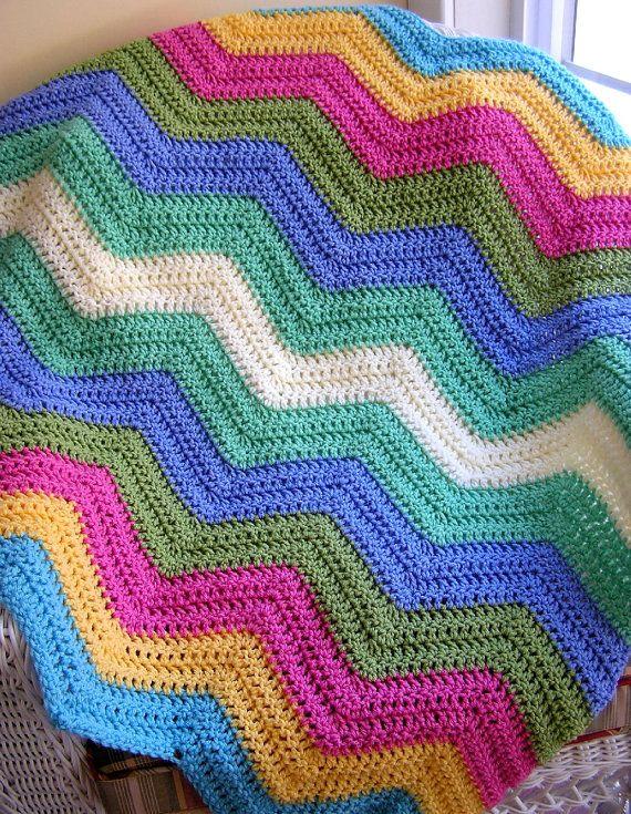 Chevron zig zag bebé manta afgana abrigo crochet tejer regazo silla ...
