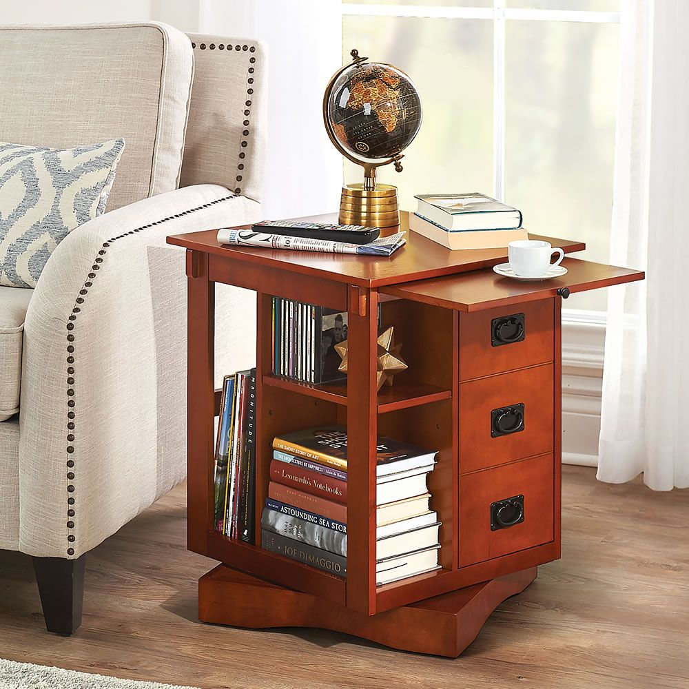 The Rotating End Table Hammacher Schlemmer End Tables Furniture Living Room Side Table