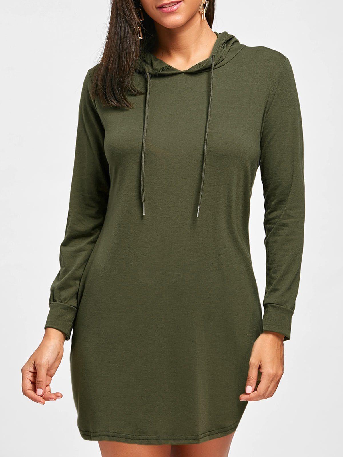 Draswtring long sleeve hooded dress womenus fashion of all kind