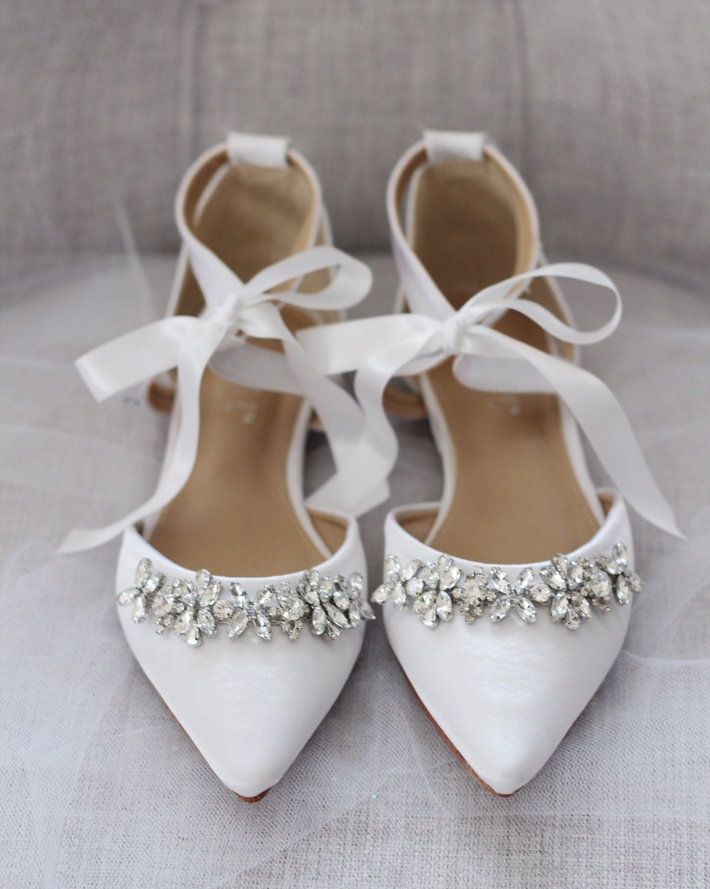 White Satin Pointy Toe flats with