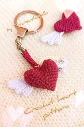 Crochet heart with wings, 2 in 1 amigurumi keychai