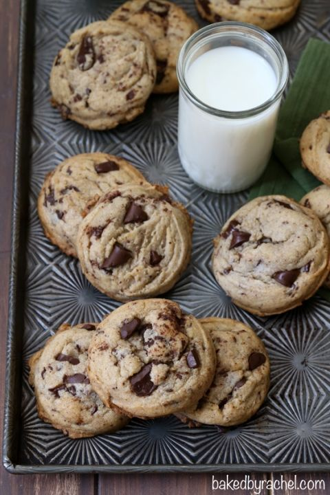 Soft and chewy cinnamon chocolate chunk cookie recipe from @bakedbyrachel