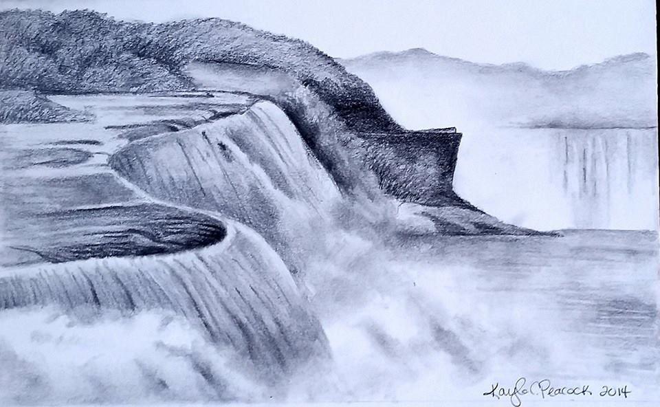 Waterfalls By Kayla Peacock Http Kaylasdrawings Wordpress Com Landscape Drawings Waterfall Sketch Pencil Drawings Of Nature