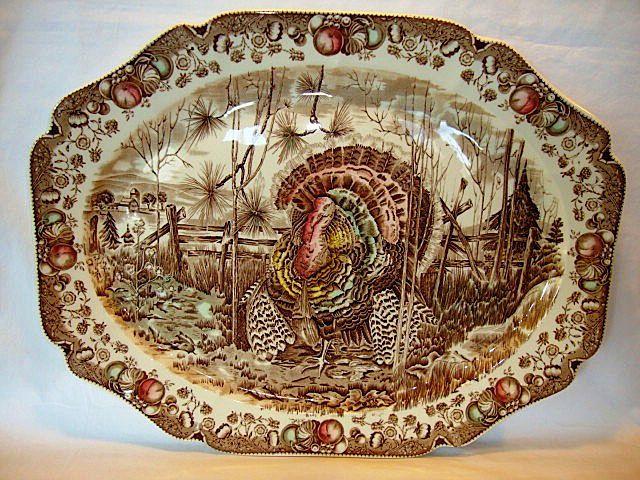 Johnson Brothers brown transferware Thanksgiving turkey platter