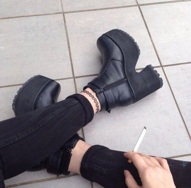 shoes boots grunge winter vagabond jeans tattoo goth punk cigarette 90s  style black chunky boots chunky heel platform shoes high heels black boots  plateau ... 6f601bdf8f