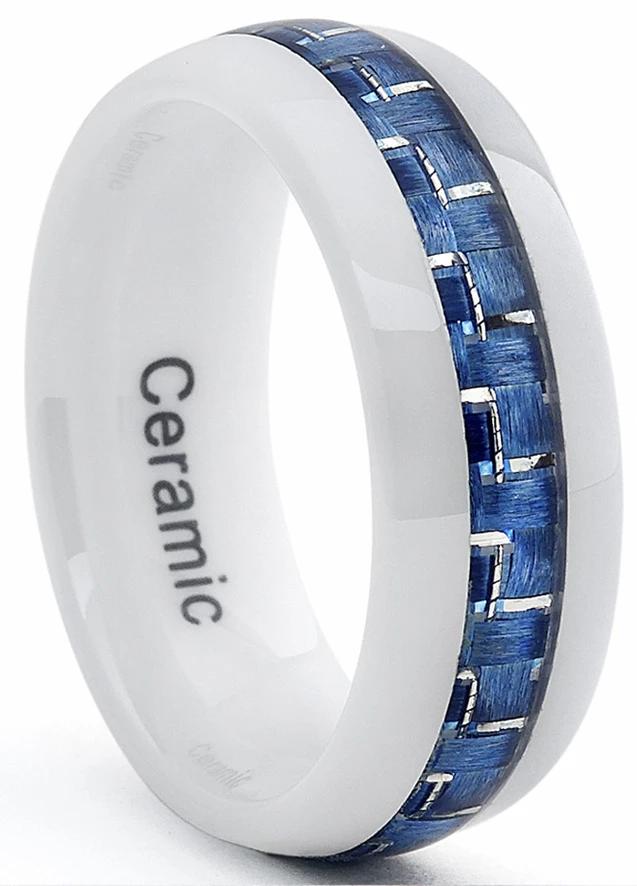 White Ceramic Men's Wedding Band With Blue Carbon Fiber