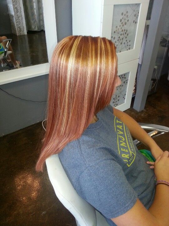 Copper Red With Blonde Highlights Blonde Highlights Red Hair