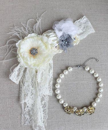 Look at this #zulilyfind! White & Gold Flower Headband & Faux Pearl Necklace #zulilyfinds