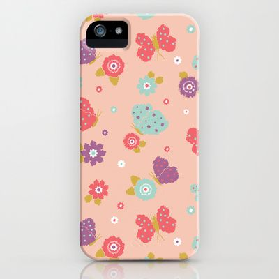 Butterfly Garden Phone Cases by Rebecca Stoner