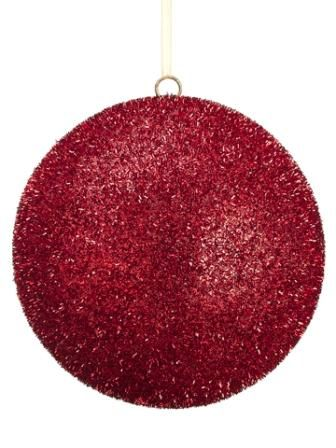 """XM1005-RE ~~ 8"""" Glittered Ball Ornament  Red"""