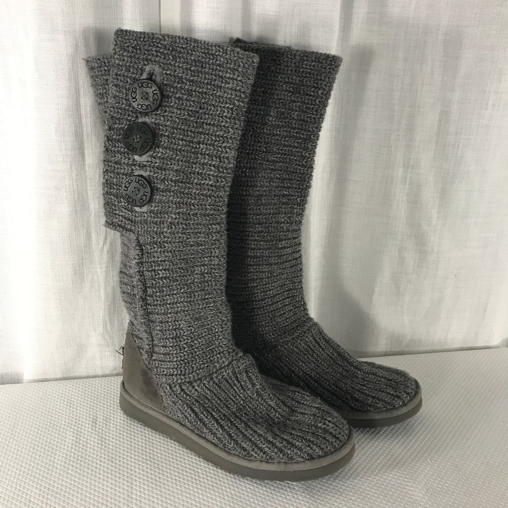 f13d6d44a1c Details about UGG AUSTRALIA Classic Cardy Gray Sweater Knit Boots ...