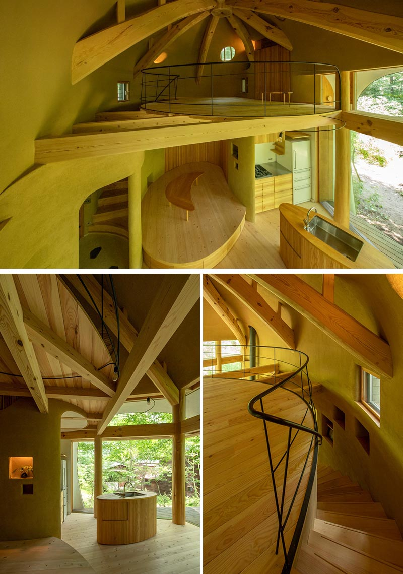 A Small House Shaped Like A Shell Is Surrounded By A Japanese Forest In 2020 Small House Traditional Building House