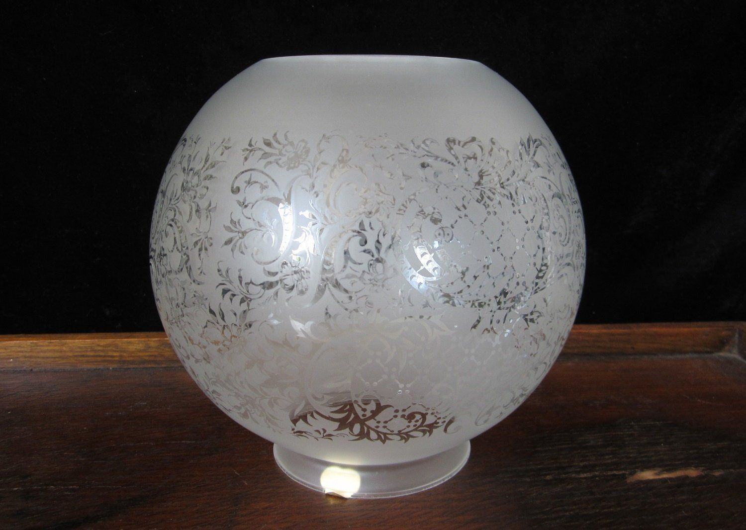 Vintage Round Clear Glass Oil Lamp with Dots