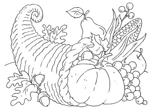 Coloring Page Thanksgiving Basket Cornucopia Thanksgiving