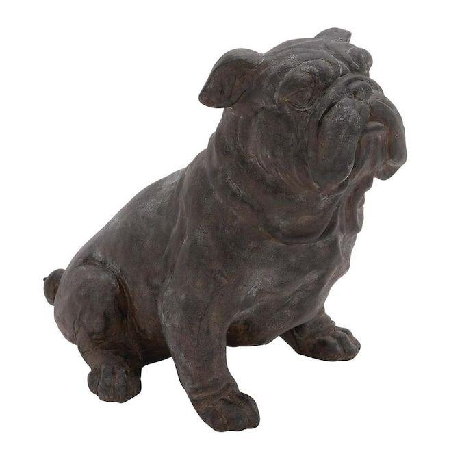 Grayson Lane Dark Brown Bulldog Statue Bulldog Dog Lover Gift Ideas Man's Best Friend Dog Figurine Life Size Dog Statue 17 x 13 in Black