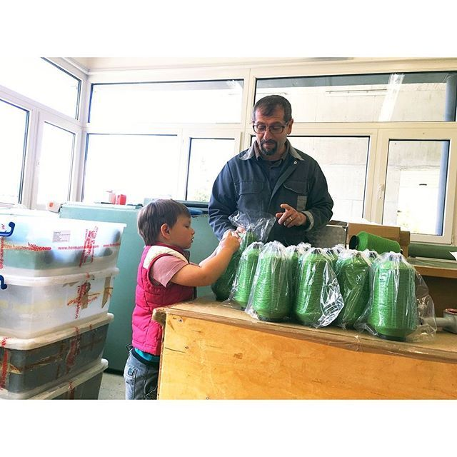 At the mailing room of the spinning mill today... Eneas and Sabri have become fast friends, my little one loved helping him packing these cones for shipping. And he was really sad when we had to leave. I think, from now on, we will have to always go and pick up our yarn orders, and not have them sent to us...   #goodfriends #yarnlove #cones #siidegarte #vierwaldstättersee #lakelucerne