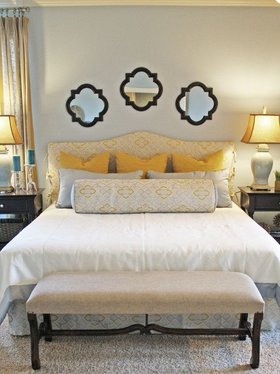 15 visually pleasant yellow and grey bedroom designs - Above the headboard decorating ...