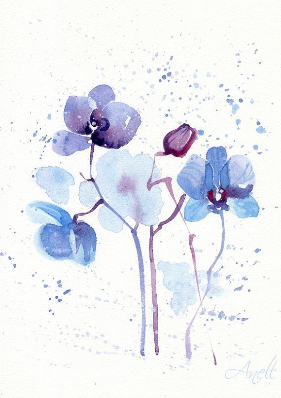 Buy 2 Get 3rd Free Blue Watercolor Flower Print Abstract Flower