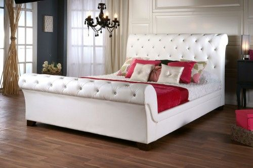 Elizabeth Diamond White Faux Leather Bed Sleigh FrameSleigh