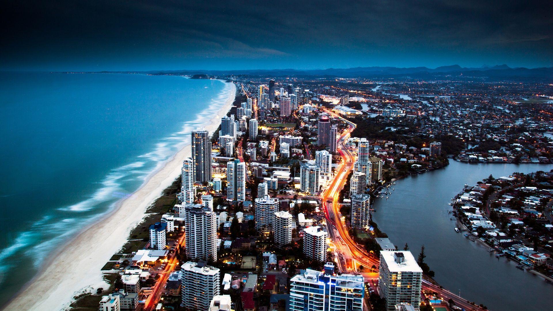 Golden City Coast HD 1080p Wallpapers Download | j n in 2019 | Australia wallpaper, City ...