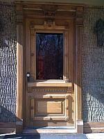 Antique Reclaimed Victorian Door With Red Etched Glass Window Panel Custom Designed Door Trim Pop Diy Exterior Door Victorian Front Doors Front Entry Doors