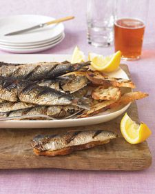 """The modest sardine turns into a delectable appetizer when grilled with salt, pepper, and a brush of olive oil. The oil delivers omega-9s, which, like omega-3s, lower """"bad"""" cholesterol."""