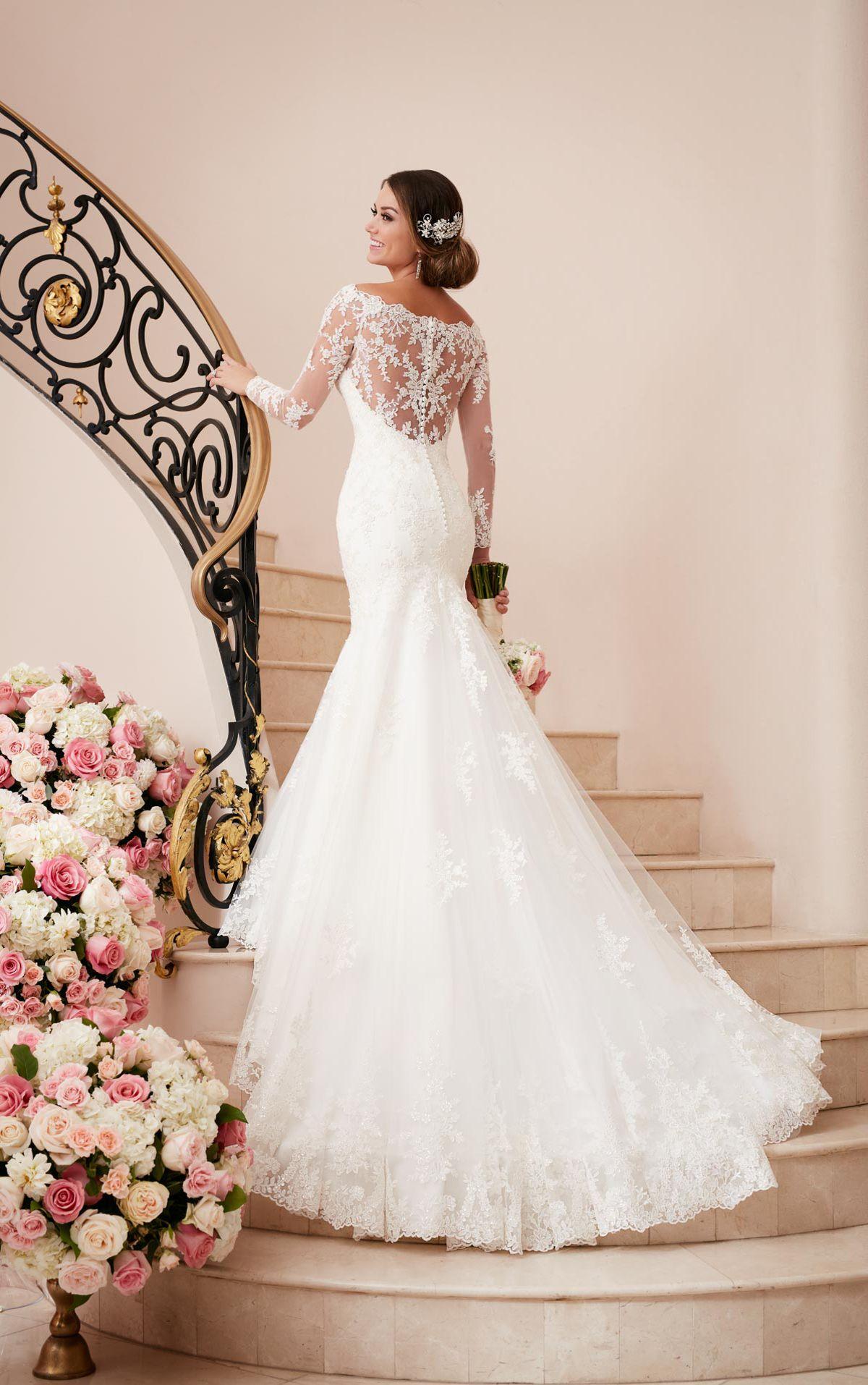 Brautkleid mit langen Ärmeln und Illusion Rücken | Meerjungfrauen ...
