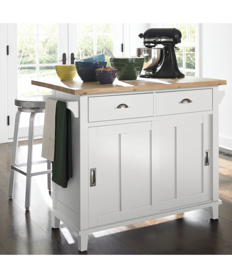 Belmont White Kitchen Island + Reviews | Crate and Barrel | where ...