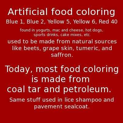 Food Colorings Are Made From Coal Tar | Paleo | Pinterest | Food ...