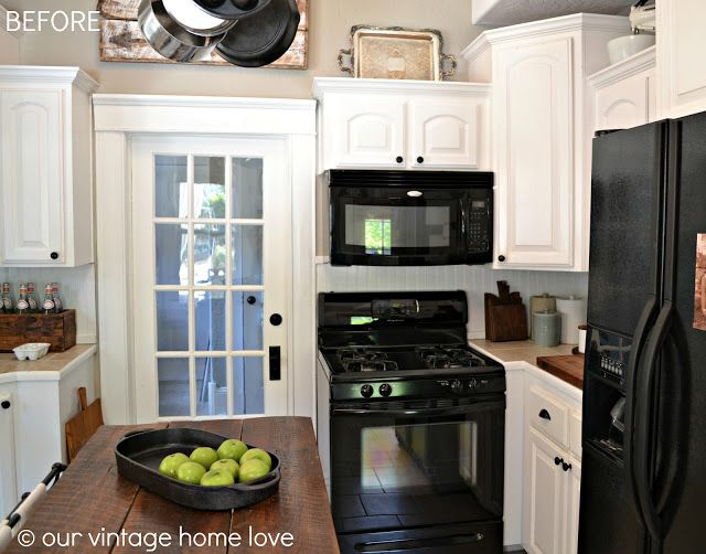 Pretty Kitchen Small With Black Appliances Butcher Block