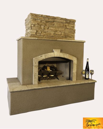 Outdoor stucco fire place tuscan outdoor fireplace for Blocked fireplace ideas