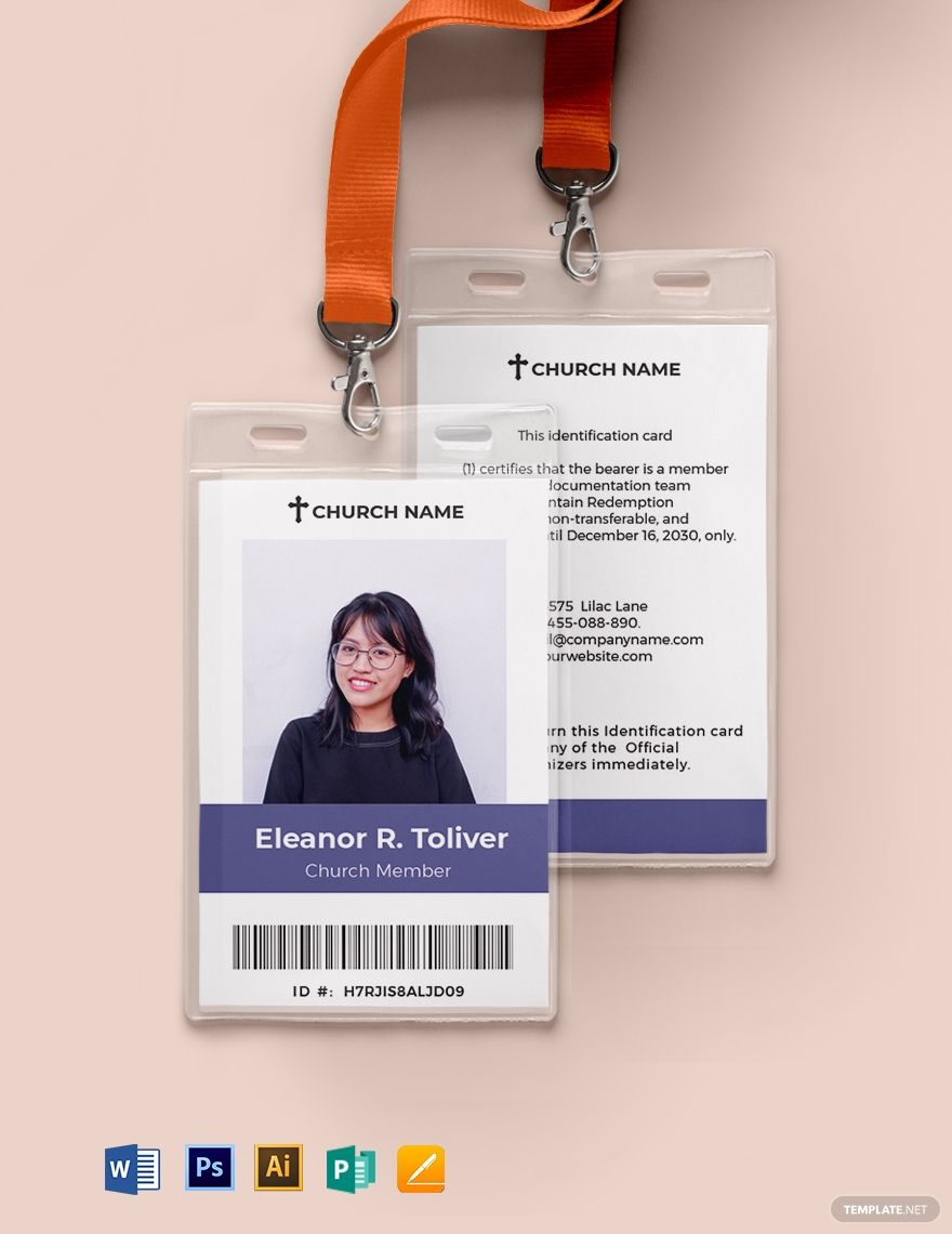 Sample Church Id Card Template Free Pdf Word Psd Apple Pages Illustrator Publisher Id Card Template Employee Id Card Card Template