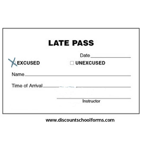 All kind of Custom Printed Forms like School Late Pass  Shipped - admission forms of schools