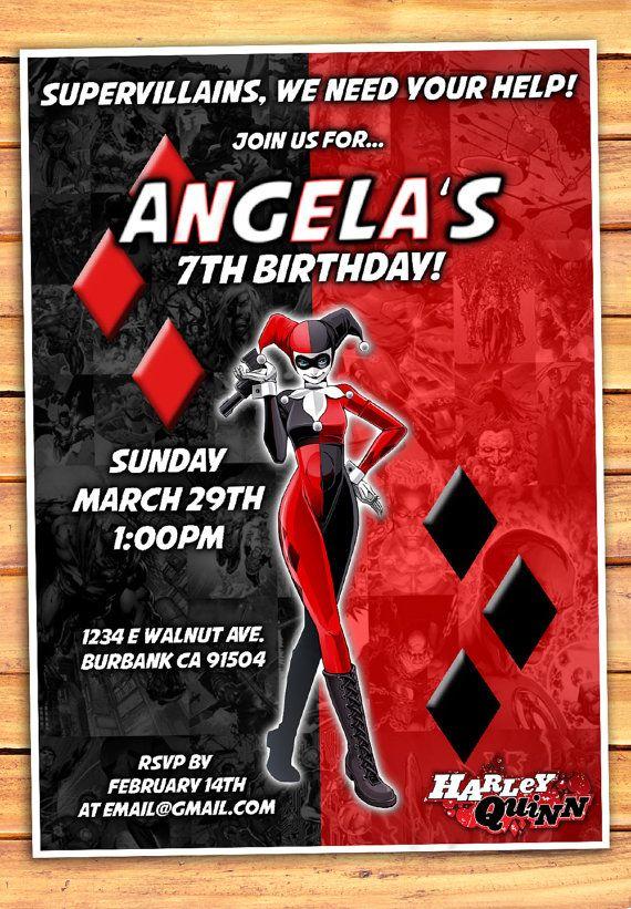Harley Quinn Birthday Invitation