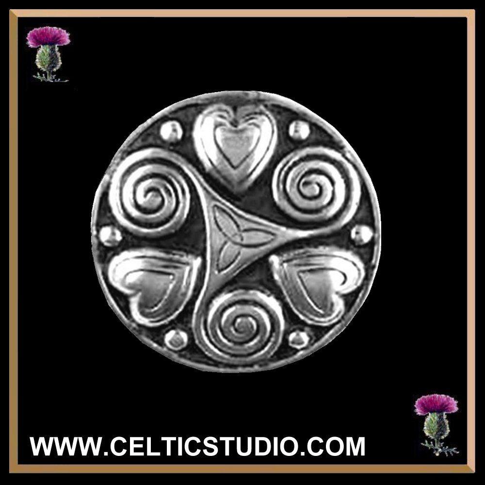 Celtic Spiral Hearts Love Brooch Sterling Silver Tattoo Art